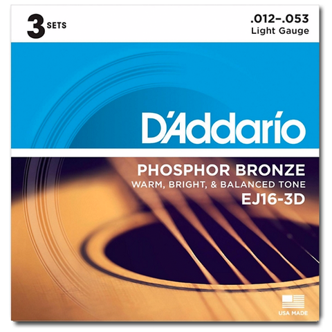 D'Addario EJ16-3D Phosphor Bronze Acoustic Strings, Light - 3 Sets