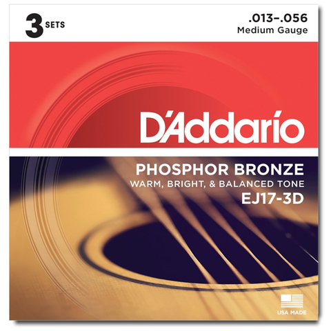 D'Addario EJ17-3D Phosphor Bronze Acoustic Strings, Medium - 3 Sets