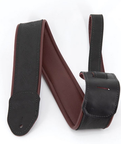 CF Martin 18A0080 Garment Leather Strap - Maroon/Black