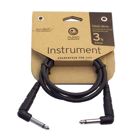 "D'Addario / Planet Waves PW-CGTPRA-03 Classic Series 1/4"" Right Angle Instrument Cable, 3 Foot"