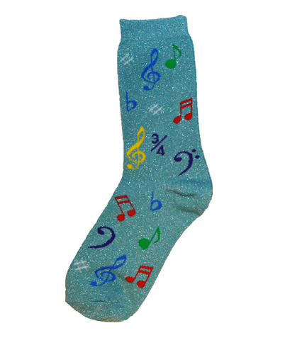 AIM Socks (Ladies) - Metallic Pale Green With Multi-Coloured Music Notes