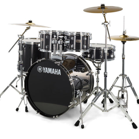 Yamaha Rydeen 5-Piece Drum Set (22,10,12,16,Snare) w/Hardware, Cymbals and Throne, Black