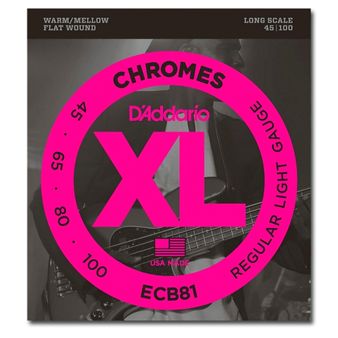 Electric - D'Addario ECB81 XL Chromes Flatwound Bass Strings, Light