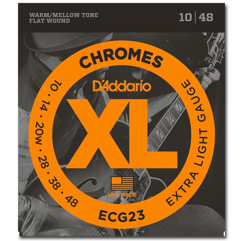 D'Addario ECG23 Chromes Flat Wound Electric Guitar Strings, Extra Light