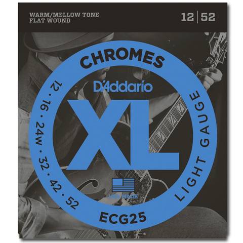 D'Addario ECG25 Chromes Flat Wound Electric Guitar Strings, Light