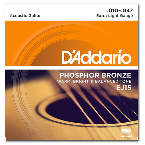 D'Addario EJ15 Phosphor Bronze Acoustic Strings, Extra Light
