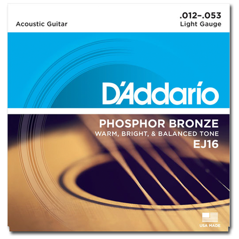 D'Addario EJ16 Phosphor Bronze Acoustic Strings, Light