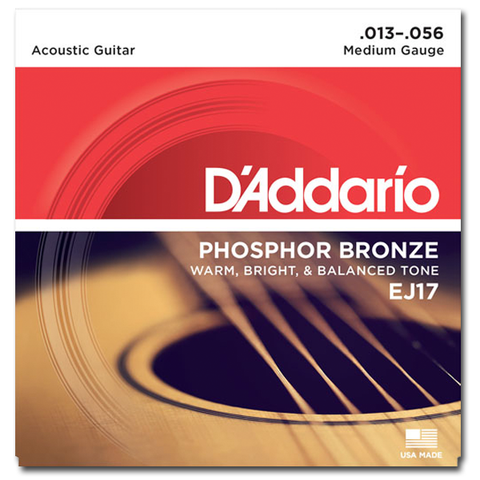 D'Addario EJ17 Phosphor Bronze Acoustic Strings, Medium