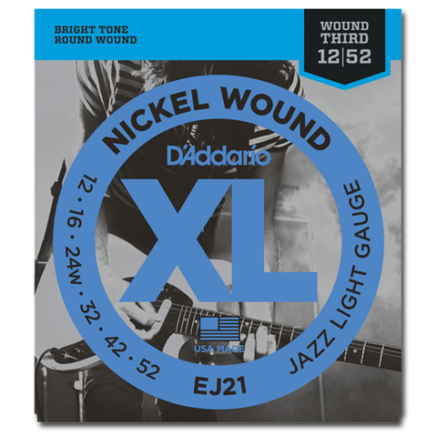 D'Addario EJ21 XL Nickel Jazz Electric Guitar Strings, Jazz Light