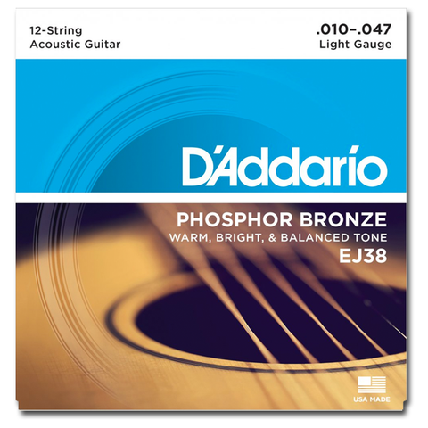 D'Addario EJ38 12-String Phosphor Bronze Light Acoustic Guitar Strings, Light