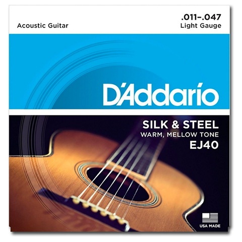 D'Addario EJ40 Silk and Steel Ball End Acoustic Folk Guitar Strings, Light