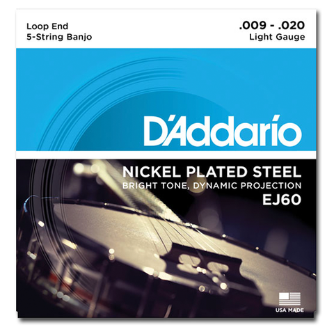 Banjo - D'Addario EJ60 Nickel Plated Loop End 5-String Banjo Set, Light