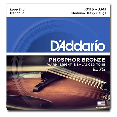 Mandolin - D'Addario EJ75 Phosphor Bronze Mandolin Strings, Medium / Heavy