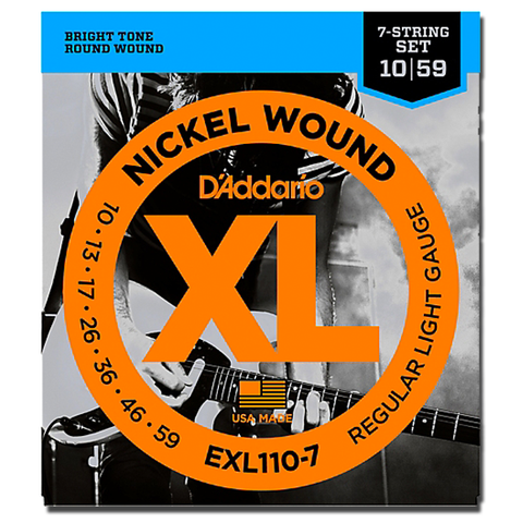 D'Addario EXL110-7 Nickel Wound Electric 7-String Set, Regular Light