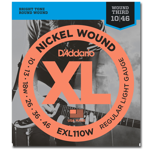 D'Addario EXL110W Nickel Wound (Wound 3rd) Electric Strings, Light