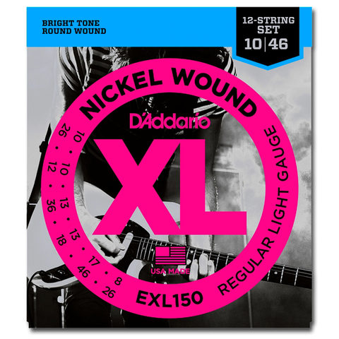 D'Addario EXL150 Nickel XL 12-String Electric Guitar Strings, Light