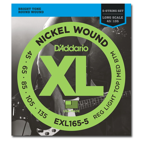 Electric - D'Addario EXL165-5 XL Nickel Round Wound Long Scale 5-String Bass Strings, Light Top / Medium Bottom