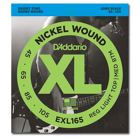 Electric - D'Addario EXL165 XL Nickel Round Wound Long Scale Bass Strings, Light Top / Medium Bottom