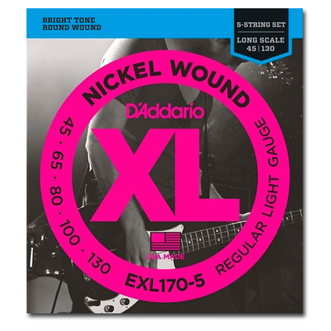 Electric - D'Addario EXL170-5 XL Nickel Round Wound Long Scale 5-String Bass Strings, Regular Light