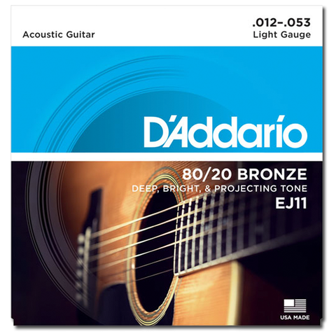 D'Addario EJ11 80/20 Bronze Acoustic Guitar Strings, Light