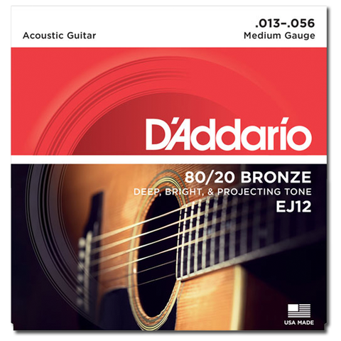 D'Addario EJ12 80/20 Bronze Acoustic Guitar Strings, Medium
