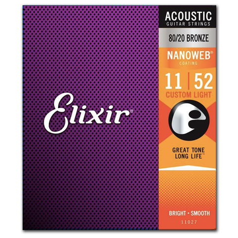 Elixir Strings 11027 Nanoweb 80/20 Bronze Acoustic Guitar Strings, Custom Light