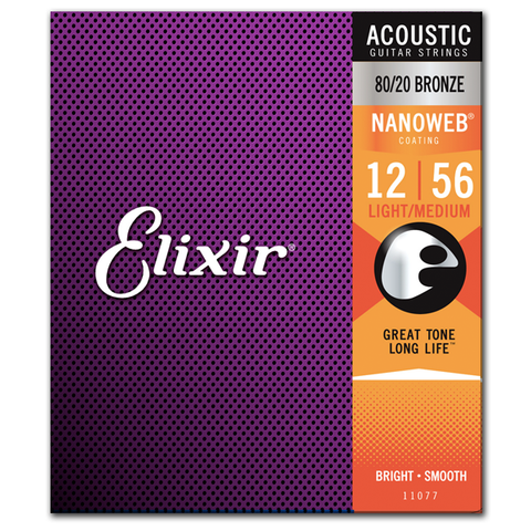 Elixir Strings 11077 Nanoweb 80/20 Bronze Acoustic Guitar Strings, Light-Medium