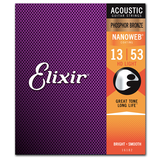 Elixir Strings 16182 Nanoweb Phosphor Bronze HD Acoustic Guitar Strings, HD Light