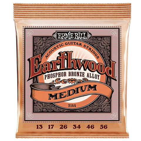 Ernie Ball 2144 Earthwood Phosphor Bronze Alloy Acoustic Guitar Strings, Medium