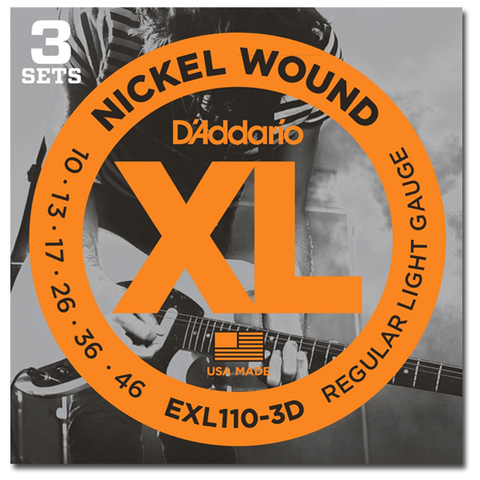 D'Addario EXL110-3D Nickel Wound Electric Strings, Regular Light, 3 Sets