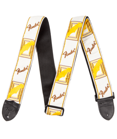 "Fender 2"" Monogrammed Guitar Strap, White / Brown / Yellow"