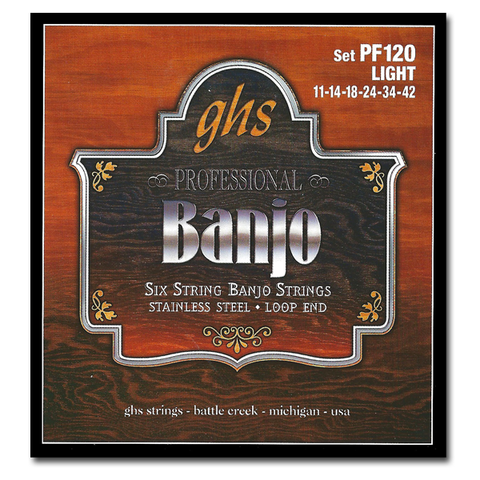 Banjo - GHS PF120 Stainless Steel 6 String Banjo Strings, Light