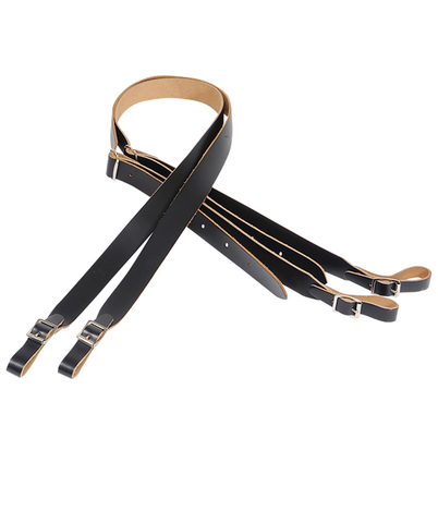 "Levy's 1"" Single Accordion Leather Strap, Black (L-M18-BLK)"