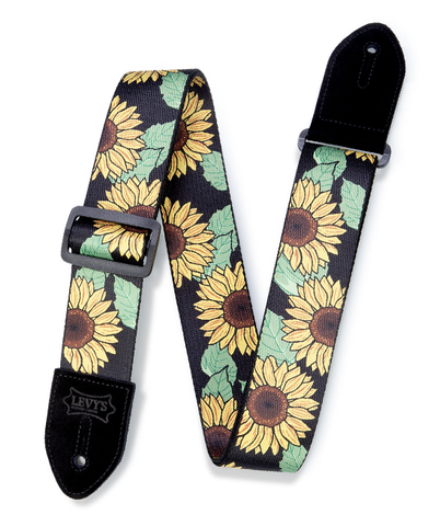 "Levy's 2"" Print Series Polyester Guitar Strap, Sunflower"