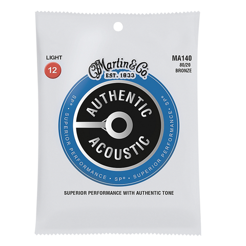 Martin MA140 SP 80/20 Bronze Authentic Acoustic Guitar Strings, Light