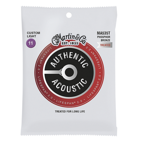 Martin MA535T Lifespan 2.0 Phosphor Bronze Authentic Acoustic Guitar Strings, Custom Light