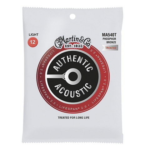 Martin MA540T Lifespan 2.0 Phosphor Bronze Authentic Acoustic Guitar Strings, Light