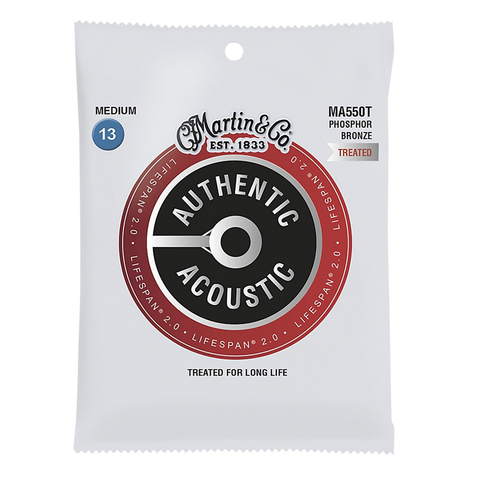 Martin MA550T Lifespan 2.0 Phosphor Bronze Authentic Acoustic Guitar Strings, Medium