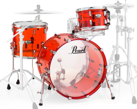 Pearl Crystal Beat 3-Piece Acrylic Drum Shell Pack, Ruby Red