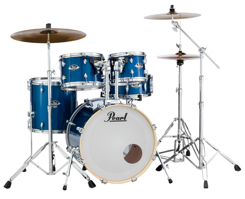 "Pearl Export (702) Standard 5 Piece Drum Kit with Pearl 830 Hardware Pack, Cymbals, D-730S Drum Throne,  & 5A Drumsticks, Electric Blue Sparkle (20"" Bass, 10"", 12"", 14"" Toms, 14"" Snare)"