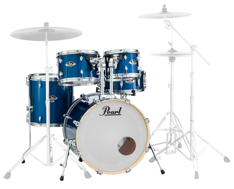 "Pearl Export (702) Standard 5 Piece Shell Pack, Electric Blue Sparkle (20"" Bass, 10"", 12"", 14"" Toms, 14"" Snare)"