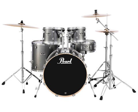 "Pearl Export (708) Standard 5 Piece Drum Kit with Pearl 830 Hardware Pack, Cymbals, D-730S Drum Throne & 5A Drumsticks, Grindstone Sparkle (22"" Bass, 10"",12"", 16"" Toms, 14"" Snare)"