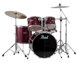"Pearl Export (91) Standard 5 Piece Drum Kit with Pearl 830 Hardware Pack, Cymbals, D-730S Drum Throne,  & 5A Drumsticks, Wine Red (22"" Bass, 10"", 12"", 16"" Toms, 14"" Snare)"