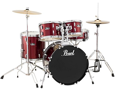 "Pearl Roadshow 5-Piece ""Ready • Set • Go"" Drum Kit with Hardware & Cymbals, Wine Red"