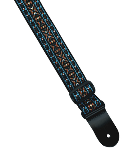 "Profile 2"" PGS620-3 Jacquered Weave Nylon Guitar Strap, Sky Blue & Orange Edging"