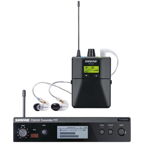 (In-Ear Monitors) - Shure P3TRA215CL-GL20 Wireless Personal In-Ear Monitoring System with Transmitter, Bodypack Receiver and Earphones