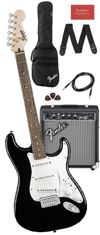 *Squier Stratocaster Starter Pack with Frontman 10G Amp, Gig Bag & Accessories, Black