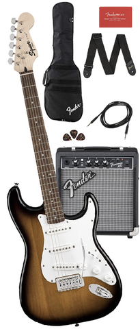*Squier Stratocaster Starter Pack with Frontman 10G Amp, Gig Bag & Accessories, Brown Sunburst
