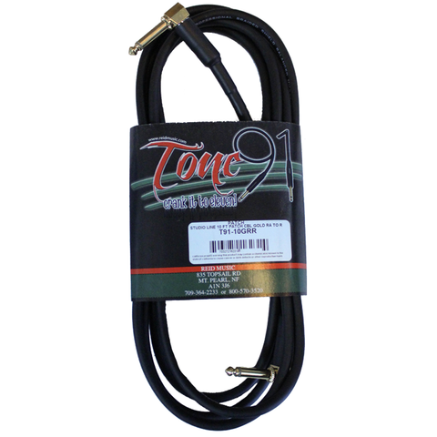 "Tone91 (T91-10GRR) Studio Line Gold 90° 1/4"" to 90° 1/4"" Patch Cable, 10 Foot"