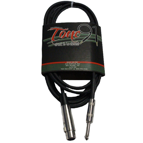 Tone91 (HZV-10) Black Hi-Z Microphone Cable, 10 Foot